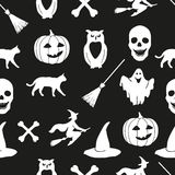 Halloween background. EPS,JPG. Seamless pattern with pumpkin, hat, ghost, broom, witch, owl, bone, skull and black cat. Halloween illustrations. White Halloween Royalty Free Stock Photos