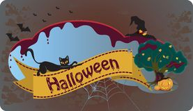 Halloween Background. Festive Halloween background with cat Stock Photo