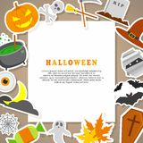 Halloween Background. Flat Icons with Frame. Halloween Background. Flat Halloween Icons with Frame Stock Photo