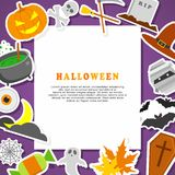 Halloween Background. Flat Icons with Frame. Halloween Background. Flat Halloween Icons with Frame Stock Images