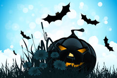 Halloween Background with Flowers and Pumpkin Stock Photo