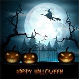 Halloween background with fly witch and pumpkin on graveyard Stock Photos