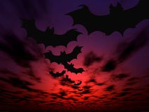 Halloween background. Flying bats Stock Photo