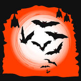 Halloween background - flying bats in full moon Stock Photography