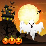 Halloween background with flying ghost and pumpkins character Royalty Free Stock Image