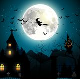 Halloween background with flying witch on the full moon Royalty Free Stock Image