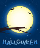 Halloween background with a full moon and bats Royalty Free Stock Image