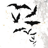 Halloween background with a full moon and bats royalty free illustration