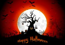 Halloween background on the full moon Stock Images