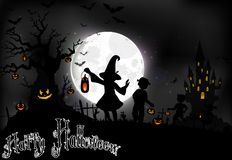 Halloween background on the full moon with a little girls on the full moon Stock Photography