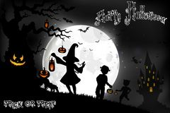 Halloween background on the full moon with a little girls on the full moon Royalty Free Stock Photo