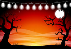 Halloween background with a full moon night Stock Images