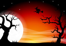 Halloween background with a full moon night Royalty Free Stock Image