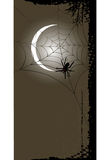 Halloween background with full moon and spider web Stock Image