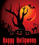 Halloween background with full orange moon, pumpki Royalty Free Stock Photo