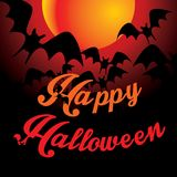 Halloween background with full orange moon Stock Photography