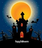 Halloween background with full orange moon Royalty Free Stock Photo