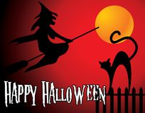 Halloween background with full orange moon, witch  Stock Photo