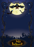 Halloween background with funny bat and graveyard Stock Photo