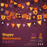 Halloween Background with Garland Decorations. Vector Illustration. Flags in Traditional Colors with Holiday Symbols. Falling Colorful Confetti Stock Images