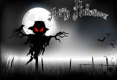 Halloween background with ghost on the full moon Stock Images