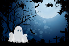 Halloween Background with Ghost and Graveyard Stock Photography
