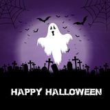Halloween background with ghost and graveyard. With cobwebs Royalty Free Illustration