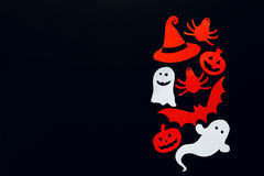 Halloween background with ghost, pumpkins, bat, spider and witch Royalty Free Stock Photos
