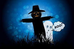 Halloween Background with Ghost and Scarecrow Stock Photos
