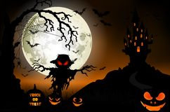 Halloween background with ghost, scary house and pumpkins on the full moon Stock Photos