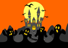 Halloween background with ghosts and castle Stock Photos