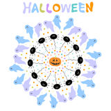 Halloween background with  ghosts, spiders, dots and pumpkin Stock Photos