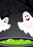 Halloween background with ghosts. Royalty Free Stock Image