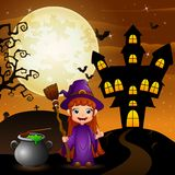 Halloween background with girl witch holding broomstick and cauldron Royalty Free Stock Photo