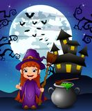 Halloween background with girl witch holding broomstick and cauldron Stock Image