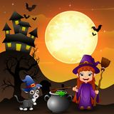 Halloween background with girl witch holding broomstick and cauldron and kitten witch. Illustration of Halloween background with girl witch holding broomstick stock illustration