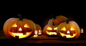 Halloween background with pumpkins. High detailed realistic illu stock illustration