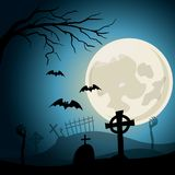 Halloween background. Graveyard with crosses and zombie hands at nigth. Full moon Stock Photo