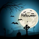 Halloween background. Graveyard with crosses and zombie hands at nigth. Stock Photography