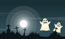 Halloween background with graveyard landscape Royalty Free Stock Photography