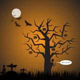 Halloween Background.Graveyard Background.Vector Halloween   Royalty Free Stock Photography