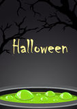Halloween background with green potion and place for text Stock Photos