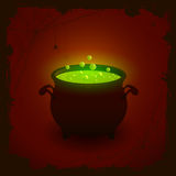 Halloween background with green potion. Halloween witches cauldron with green potion on dark background, illustration Royalty Free Stock Photos