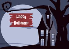 Halloween background. Halloween dark castle gnarled tree with full Moon design background. Royalty Free Stock Photo