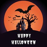 Halloween background. Halloween dark castle gnarled tree with full Moon and flying bats design background. Cartoon Vector Illustration stock illustration