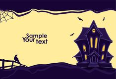 Halloween background with hand drawn Haunted house and silhouette of raven and bats. Vector illustration: Halloween background with hand drawn Haunted house and Stock Photo