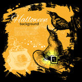 Halloween background. Hand drawn illustration Stock Images