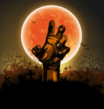 Halloween background with hand. Halloween background with a silhouette of a hand against the backdrop of a large moon Stock Photos