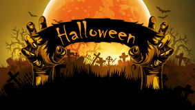 Halloween background with hand. Halloween background with a silhouette of a hands against the backdrop of a large moon Royalty Free Stock Photos