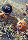 Halloween background, handmade, pumpkin, spider, october. Halloween background with handmade pumpkin, funny spider, with knitted decoration for holiday seasonal Stock Photo